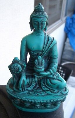 "Medicine Buddha Statue from Nepal for Dharma 4 1/2"" Height Turquoise Resin"