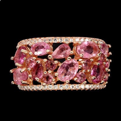 Gorgeous Oval 6x4mm Top Rich Pink Tourmaline Cz 925 Sterling Silver Ring 8