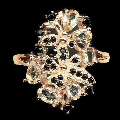 Exquisite Oval Cut 5x3mm Light Pink Morganite Black Spinel 925 Silver Ring 9