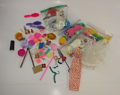 Huge Lot of Barbie Clothing, Accessories (Hair) Plates, Picnic, Dinner, Food etc