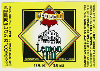 Red Bell Brewing LEMON HILL beer label PA 12oz