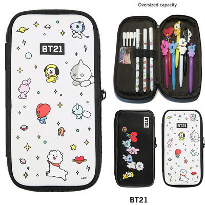 Kpop BTS BT21 Cute Pencil Pen Case Tata RJ Cosmetic Makeup Coin Bag Stationery