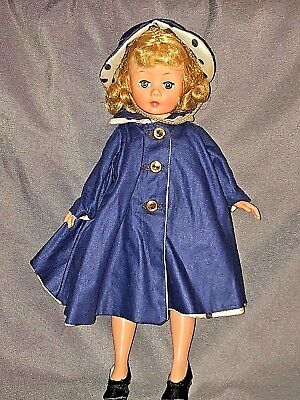 Vintage MADAME ALEXANDER Doll ~CISSETTE Tagged Reversible Blue & Polka Dot Coat
