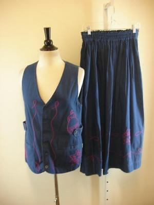 Womens S Gene Ewing BIS Vtg Blue Denim 2-pc Outfit Circle Skirt Top Vest Jacket