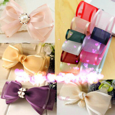 "5Yards 1""(25mm) Satin Edge Sheer Organza Ribbon Hair Bow Craft Decor Colorful"