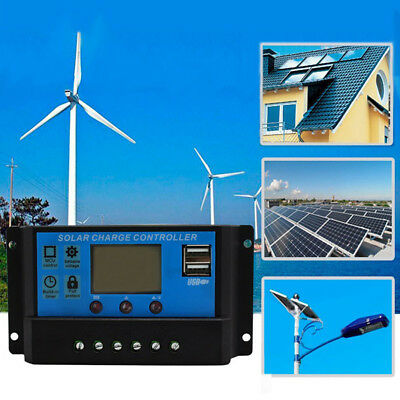 Solar Panel Charger Controller Battery Regulator USB LCD Reliable HF *