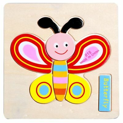Fun Kid Child Educational Toy Butterfly Wooden Puzzle Jigsaw Early Learning Toy