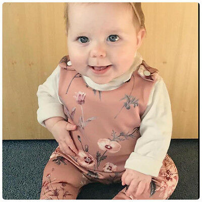 UK Newborn Baby Girls Floral Romper Bodysuit Playsuit Clothes Outfits + Headband