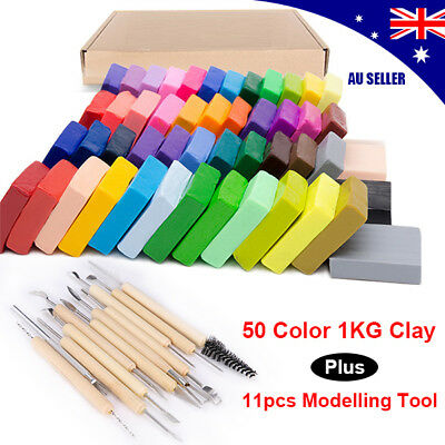 50 Colors Kids Modelling Clay Block Polymer Modelling Tools Moulds Kit Set