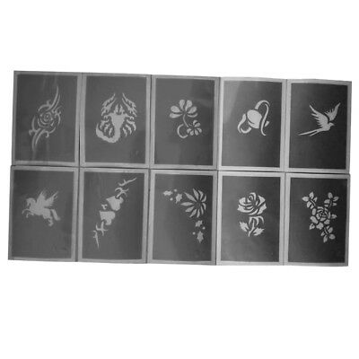 10 Pieces Reusable Body Face Painting Stencil Tattoo Makeup Stencil Template