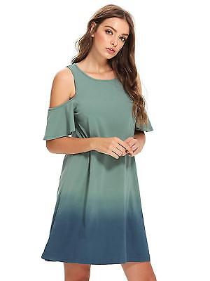8956b10db081 Romwe Women s Tunic Swing Cold Shoulder T-Shirt Dress Short Sleeve Tie Dye