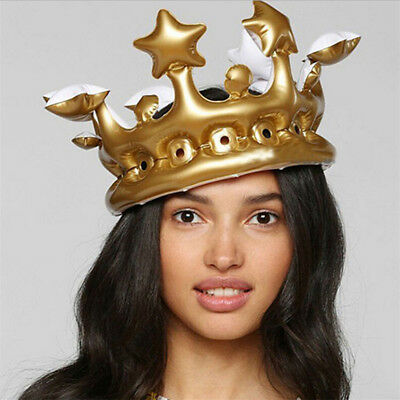 Inflatable Gold Crown King Queen The Day Costume Party Halloween Birthday Decor