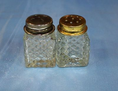 Vintage Salt and Pepper Shakers. Clear Glass Diamond point.