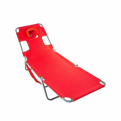 Ostrich Spring Lake Lounger Face Down Sunbathing Chaise Lounge Beach Chair, Red