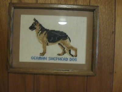 Embroidered Cross Stitch  Hand Crafted German Shepherd   Framed 10 X 13