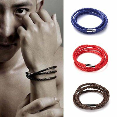 Fashion Punk Men Women Multilayer Wrap Leather Braided Cuff Bracelet Wristband