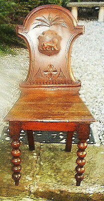 Vintage/Antique Colonial Style Solid Wood Hall Chair with Carved Lion Back