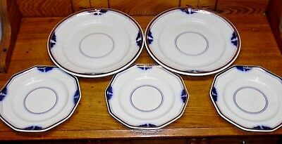 5 Assorted Antique Flow Blue Ironstone Plates Copper Band Blue & Red Rings P