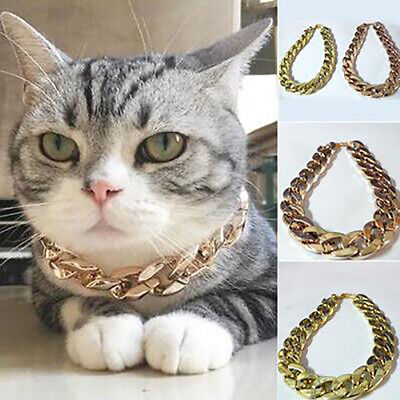 Pet Puppy Small Dog Chain Collar Punk Gold Plated Cat Safety Collar Adjustable