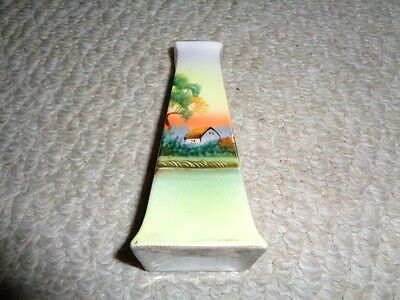 Hand painted Nippon hat hair pin holder summer time house lake sunset green tree