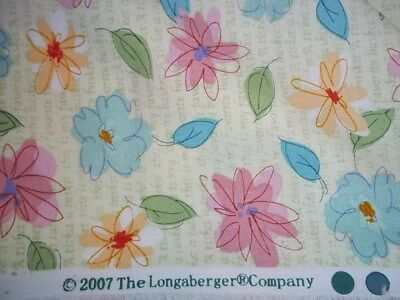 """1 Yard Longaberger """"floral Blooms"""" Fabric- 59"""" W - New"""