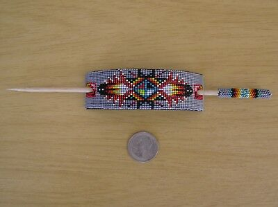 Beautiful Navajo Indian Handmade Beaded Hair Pin, Barrette Earlene Nathaniel