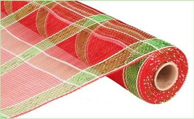 Free Shipping 21 inch deco mesh Red, Green and White 10 yards mesh