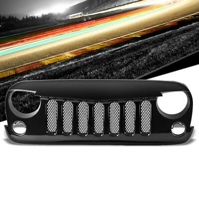 Black Angry Bird/Diamond Mesh Style Front Grille For 07-15 Jeep Wrangler JK V6