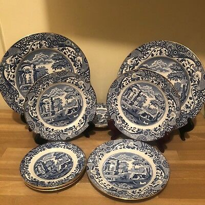 Lovely 10 pieces group Copeland Spode Blue Italian Regimental Gold Trim