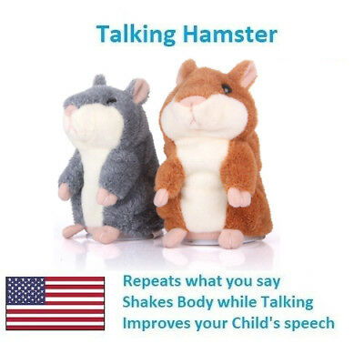 US Cheeky Hamster Repeats What You Say Electronic Pet Talking Plush Toy Cute R