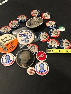 "1952 Campaign ""I LIKE IKE"" EISENHOWER Buttons & Gerald Ford Pins! Lot Of 20"