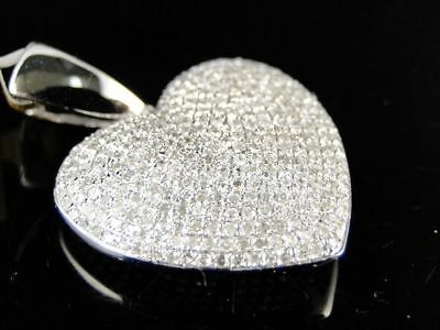 White Gold Ladies Puffed Heart Pave Set Clear Diamond Pendant/Charm 1.35 Ct