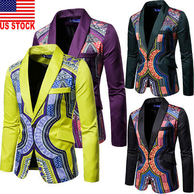 NEW Mens Suit Blazer Floral Formal Coat Jacket Weeding Party Casual Tuxedo Tops