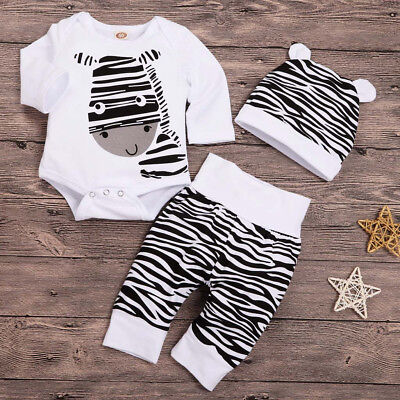 Cute Newborn Baby Boy Girl 3PCS Cartoon Zebra Print Romper Tops Pants Hat Outfit