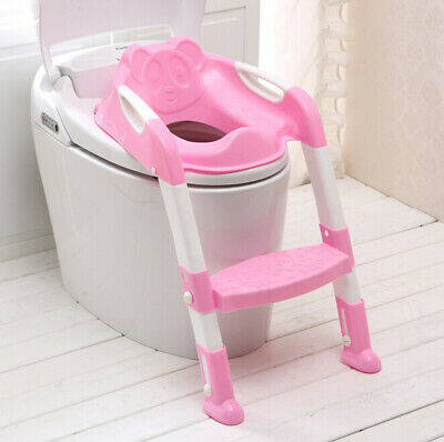 Pink Trainer Toilet Potty Padded Seat Chair Kids Toddler+ Ladder Step Up Stool