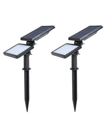 2 Pack Solar LED Super Bright Spotlights Outdoor Waterproof Ground Wall Mount