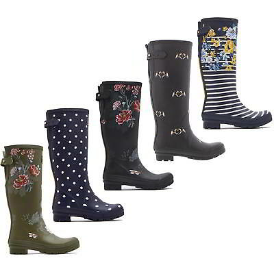 Joules Welly Print Womens Tall Rubber Wellies Wellington Boots Size UK 4-8