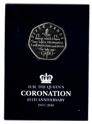 2018 Isle of Man IoM 65th Anniversary of the Queens Coronation 50p Coin UNC