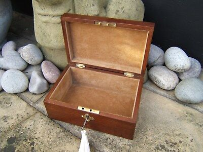 Lovely 19C Solid Mahogany Antique Document/jewellery Box - Fab Interior