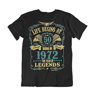 Life Begins At 50 Mens T-Shirt BORN In 1969 Year of Legends 50th Birthday Gift