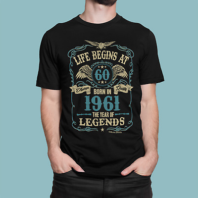 Life Begins At 60 Mens T-Shirt BORN In 1959 Year of Legends 60th Birthday Gift