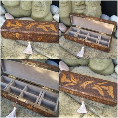 Lovely 19C Pokerwork Hand Carved Antique Jewellery Box - Fab Interior