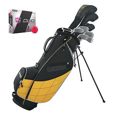 Wilson Ultra Men's 13 Piece Right Handed Golf Club Set w/ Yellow Bag & Balls