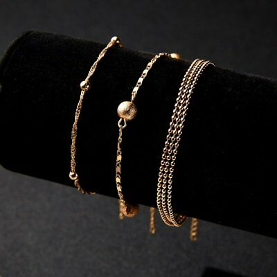 Fashion Women Stainless Steel Charm Cuff Bracelet Bead Bangle Gold Chain Jewelry