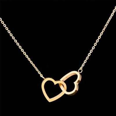 Romantic Couple Heart Pendant Necklace Lady Wedding Jewelry Valentine's Day Gift