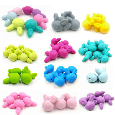 Rabbit Shape Silicone Beads Teething Necklace Teether BPA Free For Baby Kids CB
