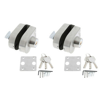 2x Stainless Steel 10-12mm Glass Swing Push Door Lock with Key Thumb Turning
