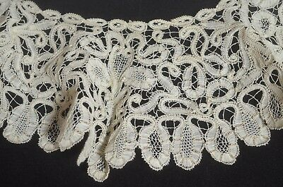 Stunning Vintage Antique Linen Tape Lace Collar Uu51