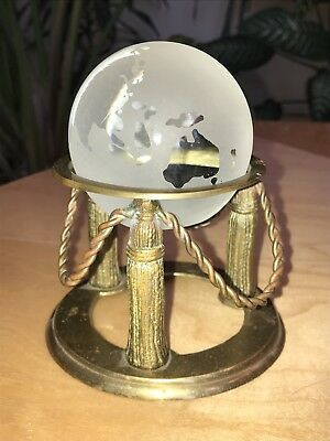 """GREAT CITY TRADERS Vintage World Crystal Ball Globe & Solid Brass Stand 5"""" Rare"""