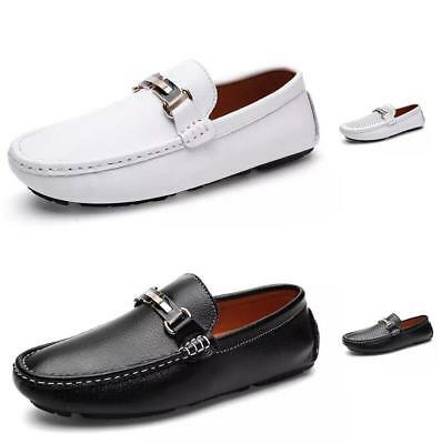Men's Fashion Driving Loafers Suede Leather Penny Shoes Black White Moccasins